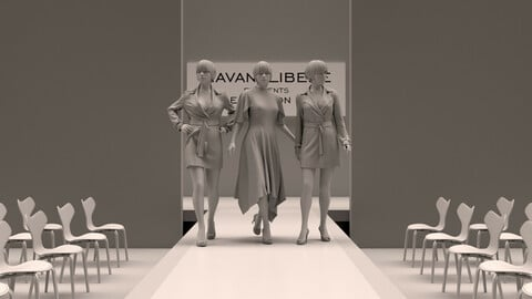 Female Runway for Realistic avatar-mannequin Clo3D