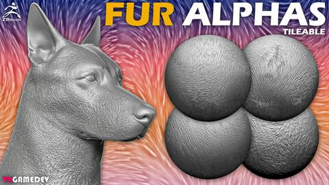 15 Fur Alphas for ZBrush (Tileable)