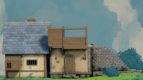 fantasy Stylized Medieval House b10