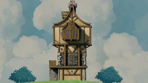 fantasy Stylized Medieval House b12