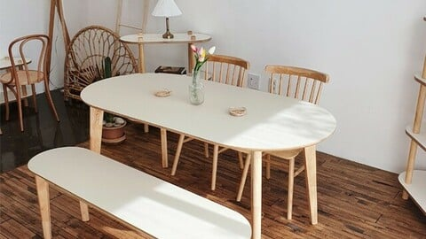 HPL laminate oval solid wood dining table