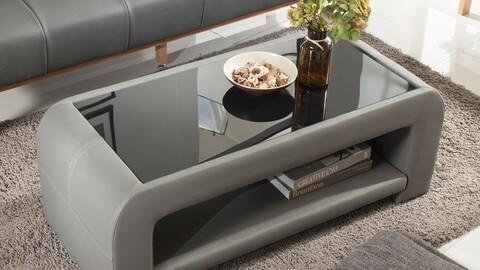 PU Leather Tempered Glass Sofa Table