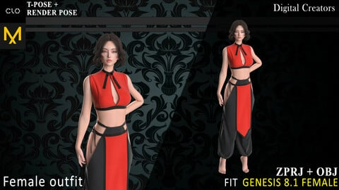 Female outfit. MD, Clo3d project + OBJ + render project