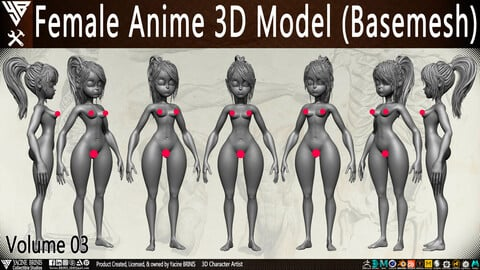 Female Anime 3D Model (Basemesh) Vol 03