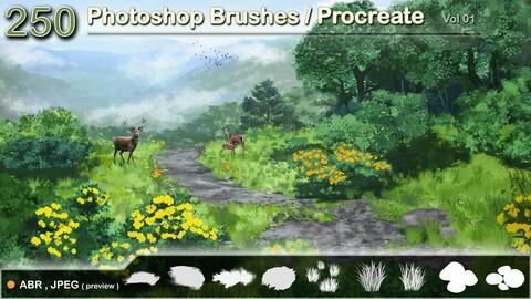 250  Photoshop Brushes / Procreate    vol 01