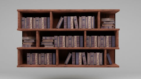 Old Bookshelf With Ancient Books