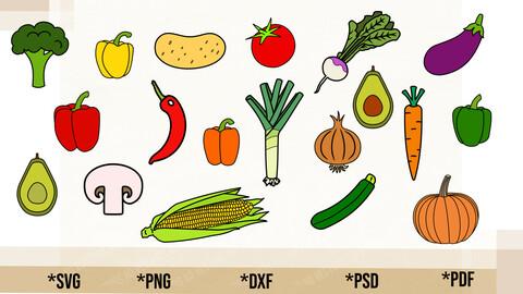 Vegetable Bundle SVG, Vegetable Bundle Cricut Cut File, Vegetable Bundle PNG Printable, pdf, dxf, Vegetable Bundle Digital Download