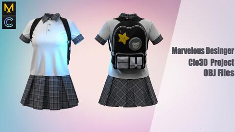 School uniform with a backpack / Marvelous Desinger/Clo3D Project+OBJ File + FBX