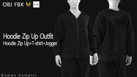 Men's Hoodie Zip Up Outfit