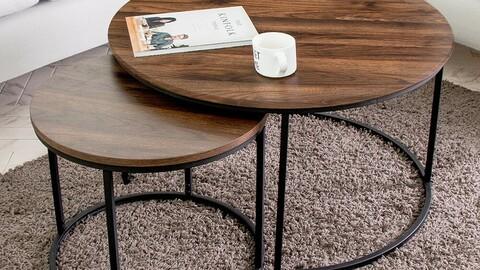May Walnut Sofa Table Twin Set