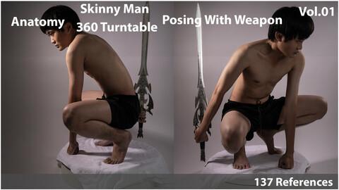 Anatomy - Skinny Man Posing With Weapon - Vol 1
