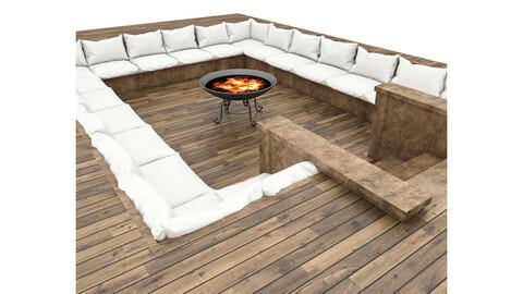 3D arden decorative fire pit model