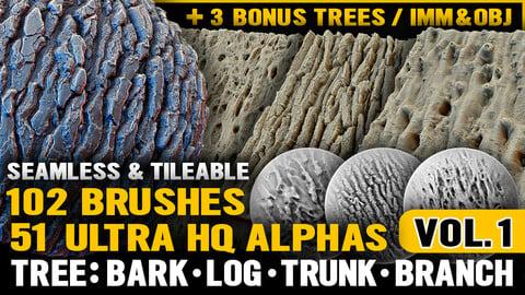 Ultra HQ Tree Bark Seamless Sculpt Zbrush brushes + Alphas (Blender, Substance, etc.) Vol.1
