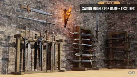 50 Sword Models For Game + Textures