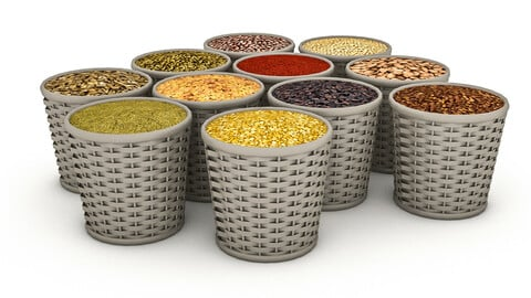 Baskets of dried legumes 3D model