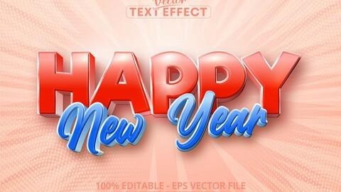 Happy new year text, cartoon style editable text effect
