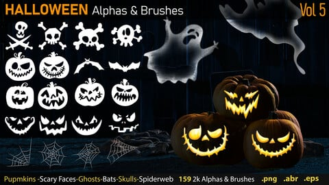Halloween Alphas & Brushes + eps Files-Vol5