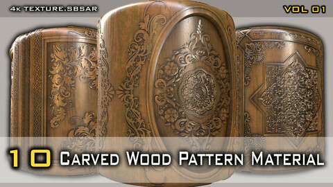 Carved Wood Pattern Material pack