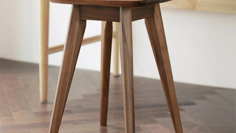 Side table and wooden stool