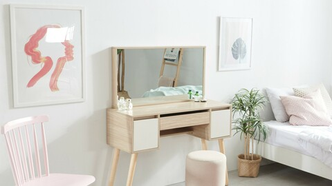Coco storage type wooden mirror dressing table