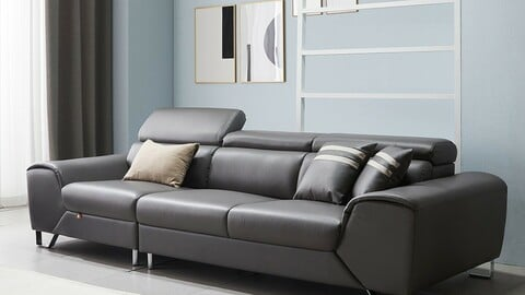 Mary 4 person moving headrest leather sofa