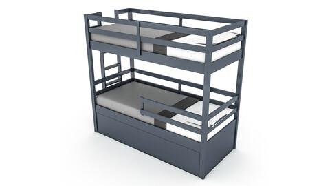 modern wooden bunk bed 02 3D