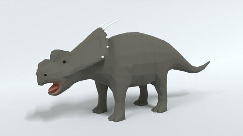 Low Poly Cartoon Achelousaurus Dinosaur