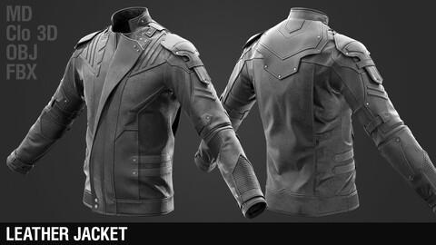 Leather Jacket / Marvelous Designer / Clo 3D project + obj + fbx