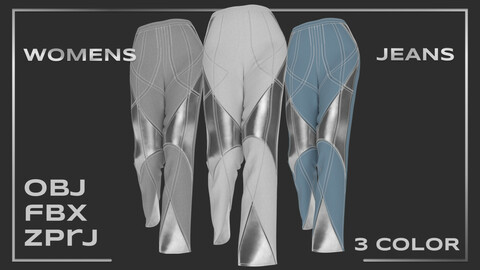 Womens jeans with imitation metal (colorway)