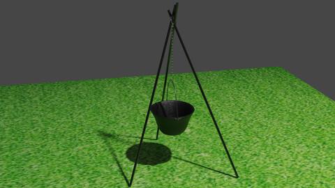 Cauldron Tripod Low-poly 3D model
