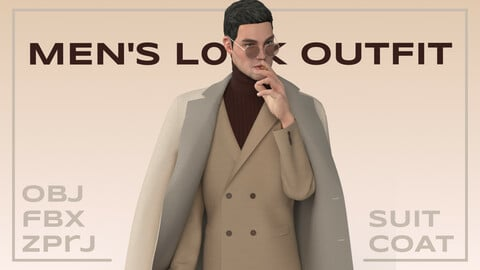 Men's look outfit (suit and coat)