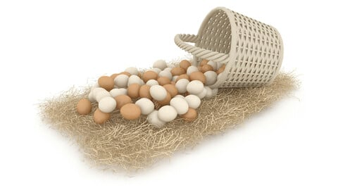 basket straw and eggs are natural 3D model