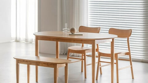 Right 4 seater oval wooden dining table set