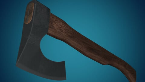Medieval Axe Weapon PBR low-poly game ready 3D model
