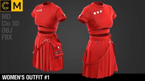 Women outfit / Marvelous Designer / Clo 3D project + obj + fbx