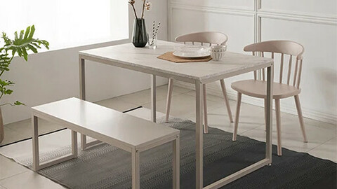 Baking 4 person white marble dining table set