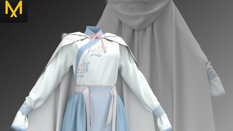 Female Skirt_Ancient/Tranditional Skirt_Song Dynasty_With Cloak_Clo.3d Marvelous designer project_fbx&obj if needed