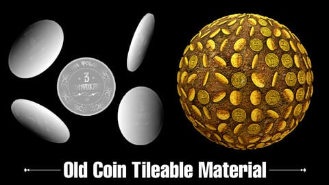 Old Coin Tileable Pbr Material ( .Sbsar - .Sbs - .Ztl - .Obj - .Max ) - High Quality - 4K