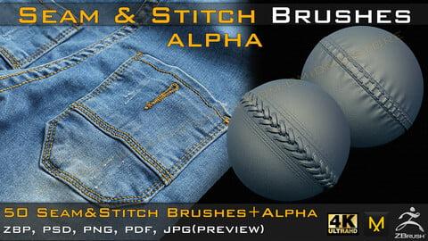 50 Seam & Stitch Brushes & Alpha (Tileable 4k-16bit) Vol.01