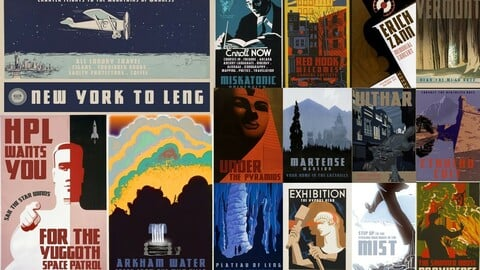 H.P. Lovecraft's Poster Collection - 17 retro travel posters