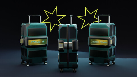 Luggage, SciFi Suitcase Galactic Citizen (polygonal 3D model with PBR textures)
