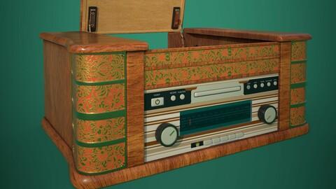 Electronics, audio, Retro gramophone (polygonal 3D model with PBR textures)