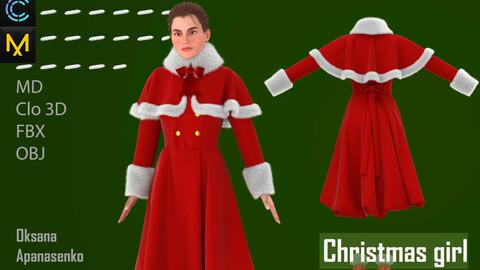 Christmas girl. Clo 3D/MD project + OBJ, FBX files