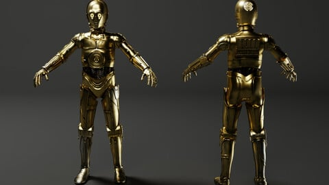 C-3PO Model -Rigged and Textured