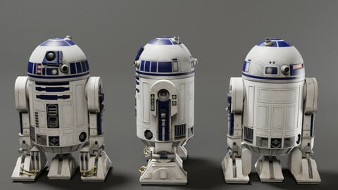 Low poly R2-D2 Model -Rigged and Textured