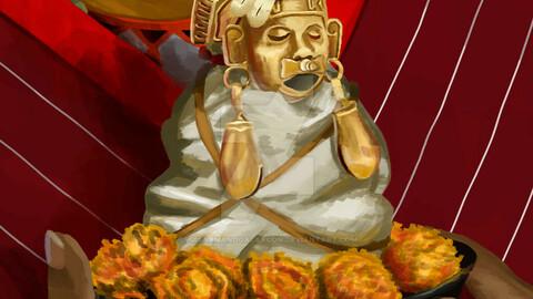 Nunuu Dzico-Yecu Lady Six Monkey Quechquemitl of War