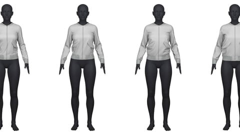 Bomber jacket in 4 different fits/sizes CLO3D