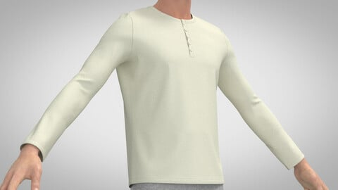 Collarless Long Sleeve Shirt, Marvelous Designer, Clo3D +obj +fbx