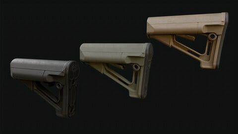 buttstock magpul STR ar15 zbrush boolean workflow Sources files