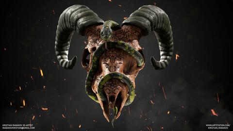 Carved Ram skull and Snake